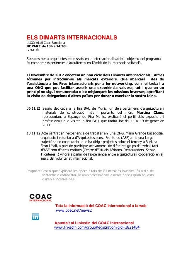 Dimarts internacionals novembre 2012