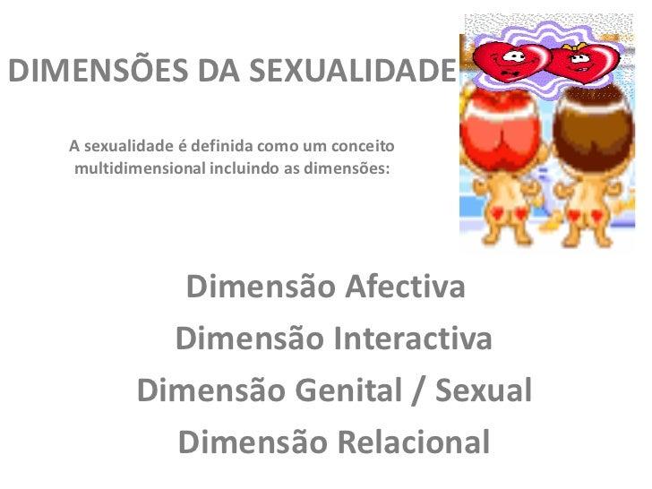 DIMENSÕES DA SEXUALIDADE   A sexualidade é definida como um conceito   multidimensional incluindo as dimensões:           ...