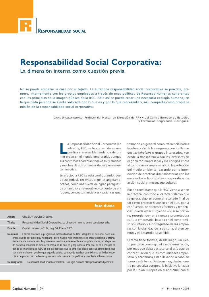 Responsabilidad Social Corporativa: la dimensión interna como cuestión previa