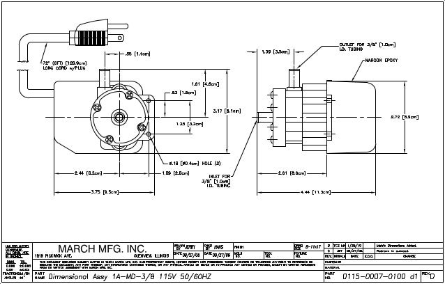 Mag drive pump series 1a md 3 8 dimensional drawing pdf for 3 dimensional drawing software