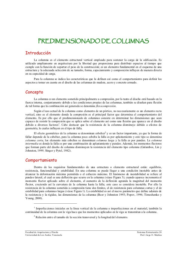 Dimensiones de columnas