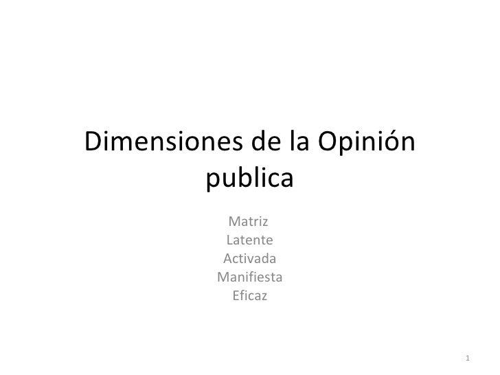 Dimensiones de la Opinión         publica            Matriz            Latente           Activada           Manifiesta    ...