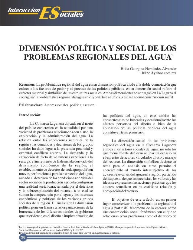 DIMENSIÓN POLÍTICA Y SOCIAL DE LOS PROBLEMAS REGIONALES DELAGUA Introducción: La Comarca Lagunera ubicada en el norte del ...