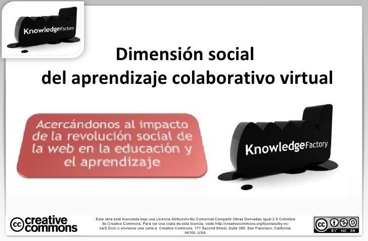 Dimensión social  del aprendizaje colaborativo virtual Esta obra está licenciada bajo una Licencia Atribución-No Comercial...