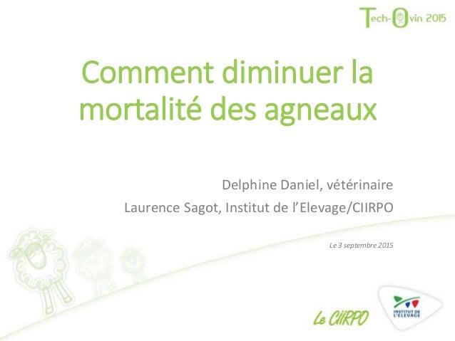 Comment diminuer la mortalité des agneaux Delphine Daniel, vétérinaire Laurence Sagot, Institut de l'Elevage/CIIRPO Le 3 s...