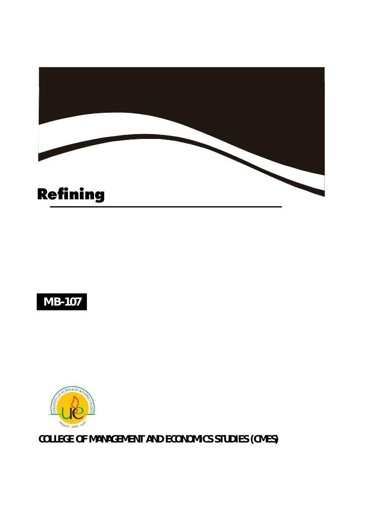 Fundamentals of refining