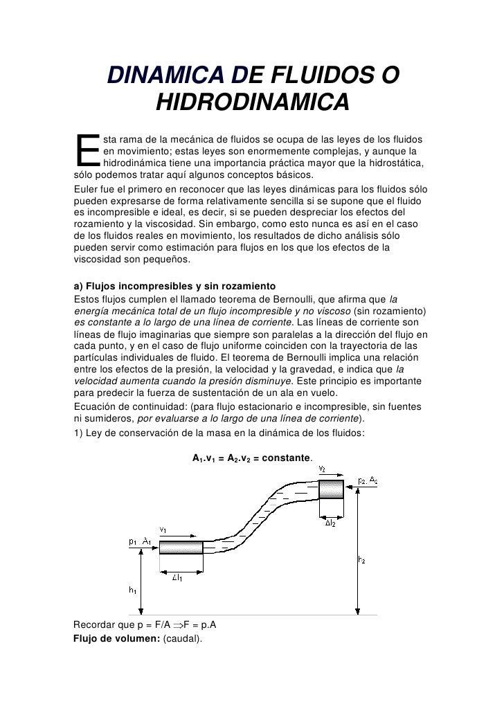 DINAMICA DE FLUIDOS O HIDRODINAMICA<br />E<br />sta rama de la mecánica de fluidos se ocupa de las leyes de los fluidos en...
