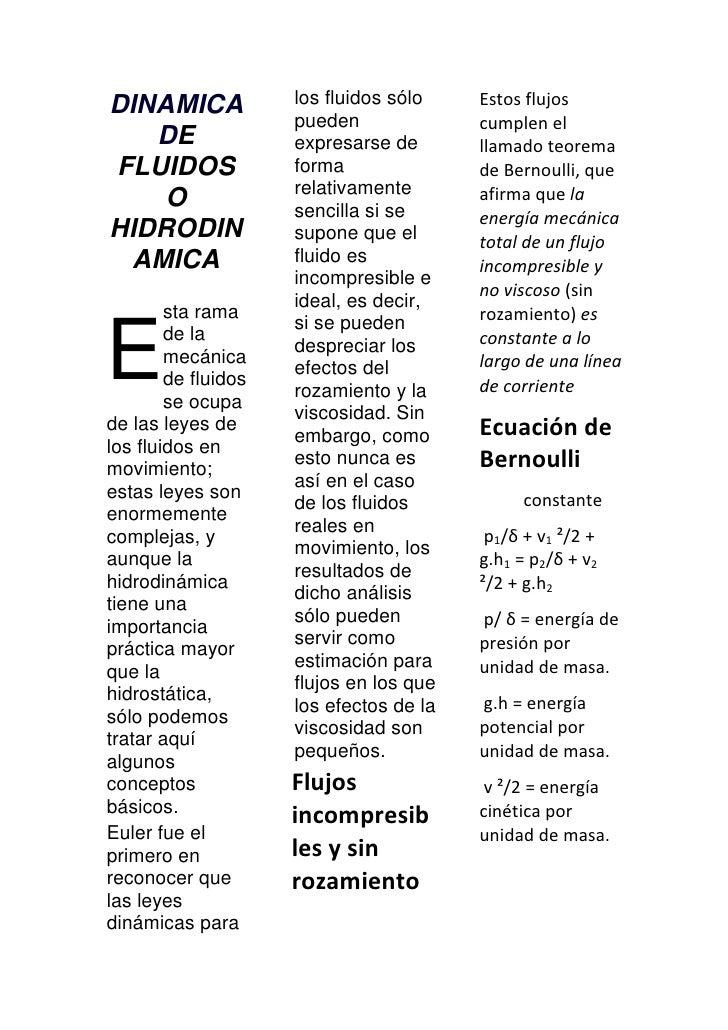 Dinamica de fluidos o hidrodinamic ad