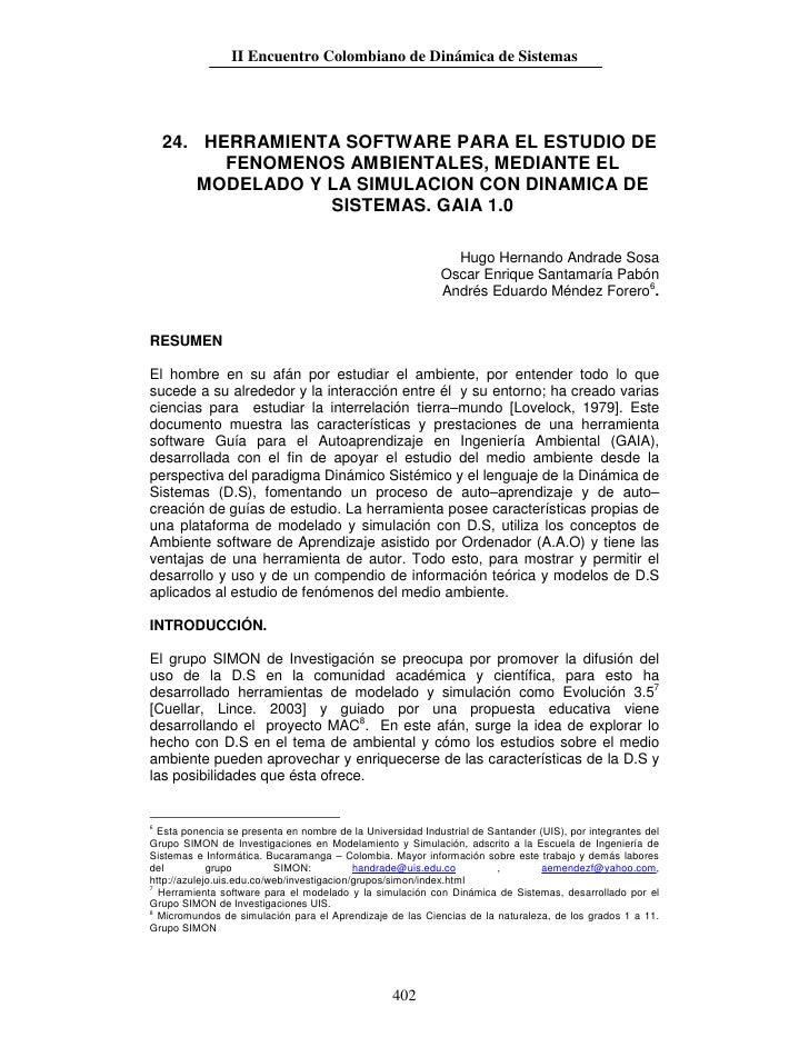 II Encuentro Colombiano de Dinámica de Sistemas         24. HERRAMIENTA SOFTWARE PARA EL ESTUDIO DE           FENOMENOS AM...