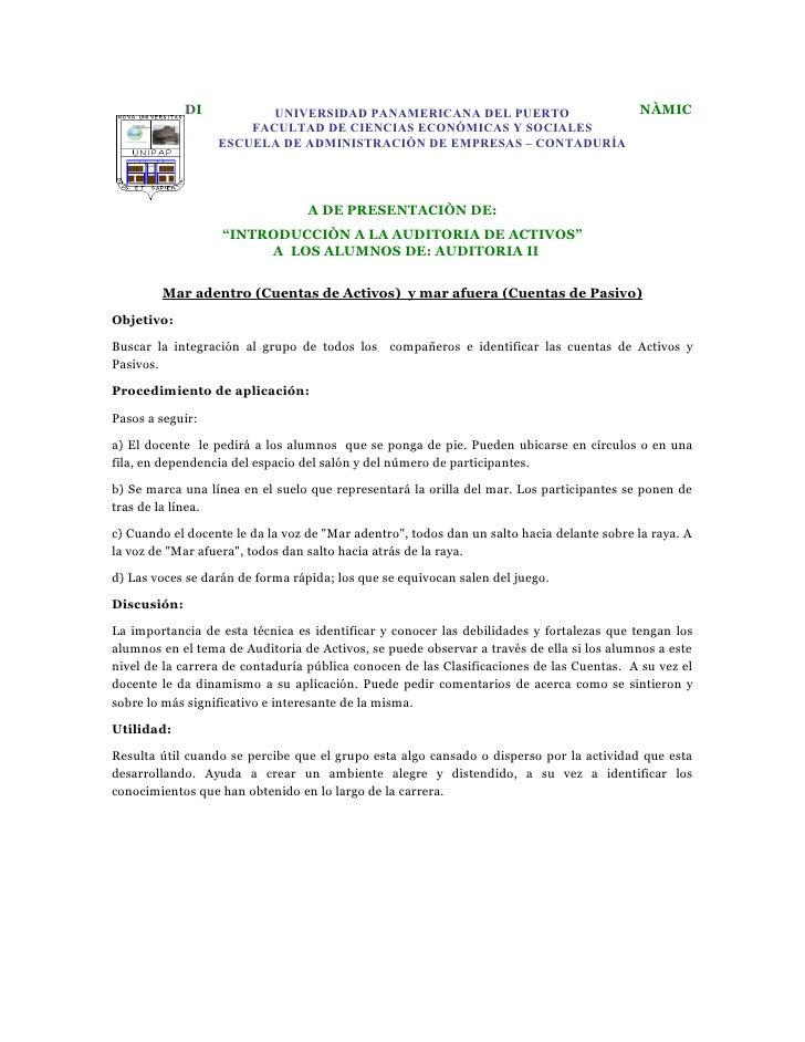 DI          UNIVERSIDAD PANAMERICANA DEL PUERTO                               NÀMIC                       FACULTAD DE CIEN...