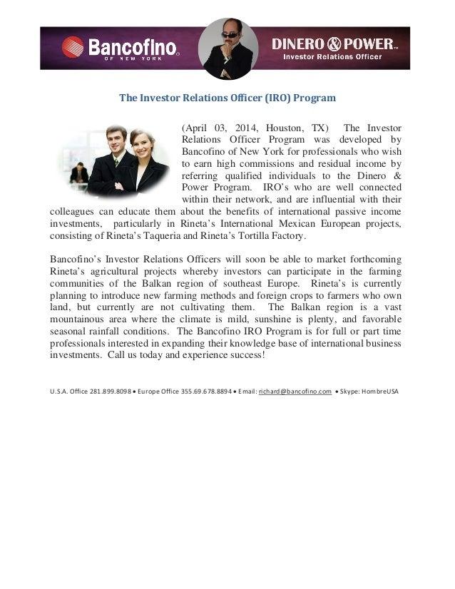 The Investor Relations Officer (IRO) Program (April 03, 2014, Houston, TX) The Investor Relations Officer Program was deve...