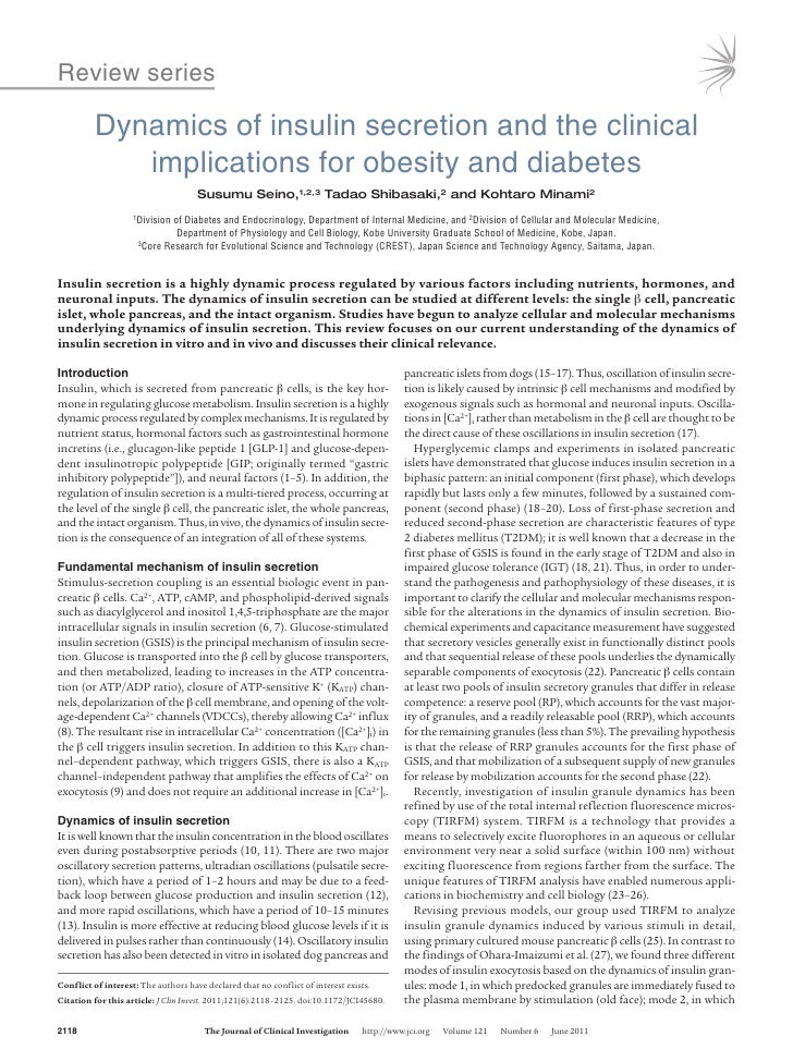Review series          Dynamics of insulin secretion and the clinical             implications for obesity and diabetes   ...