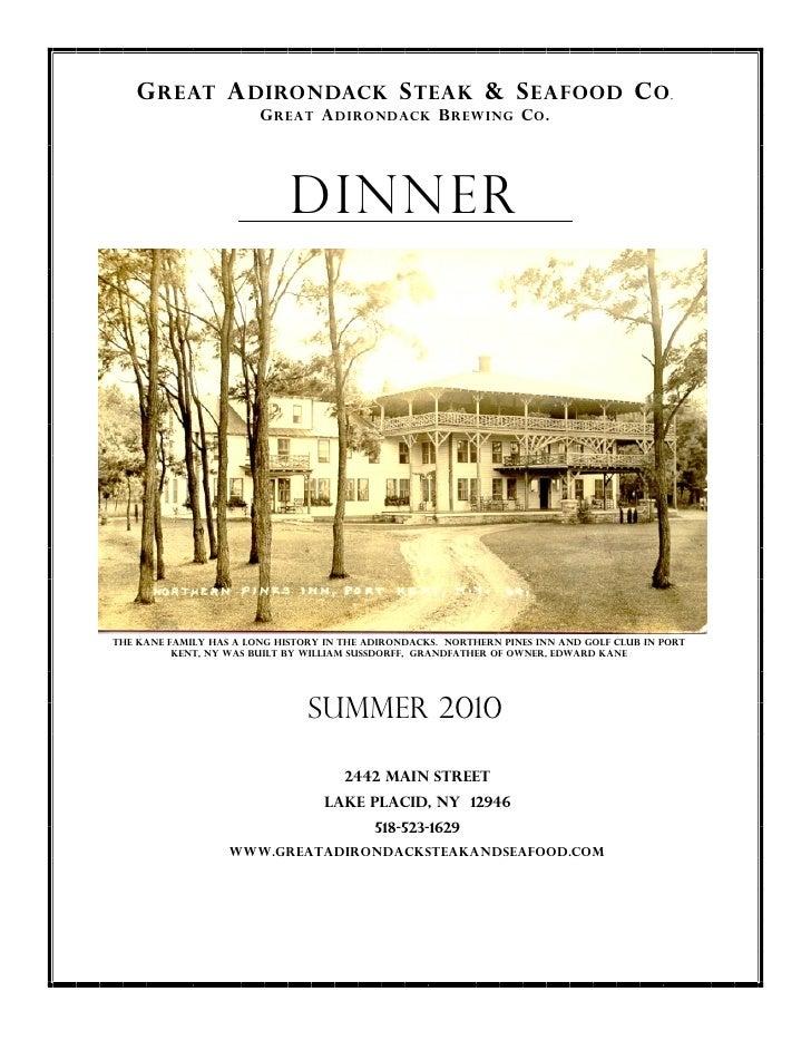 New Dinner Menu 2010