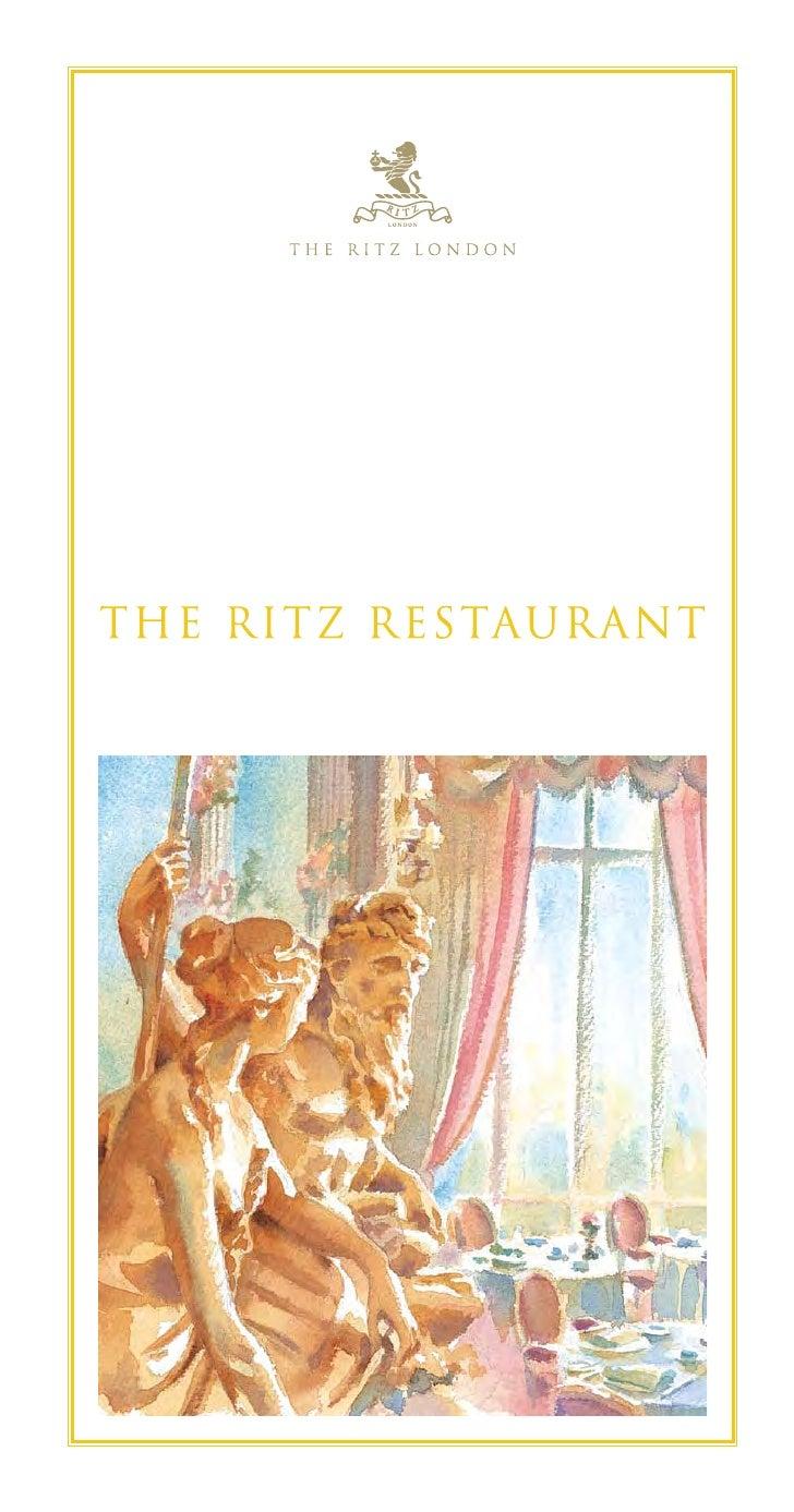 The Ritz London Dinner Menu - Summer 2009