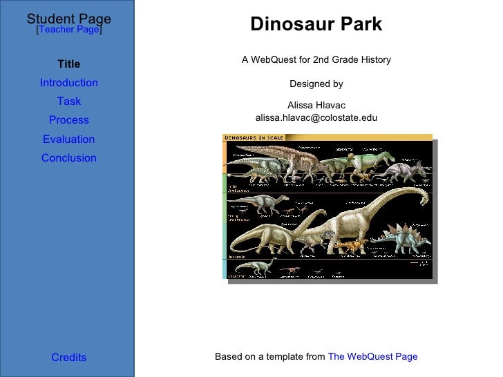 Dinosaur Park Student Page Title Introduction Task Process Evaluation Conclusion Credits [ Teacher Page ] A WebQuest for 2...