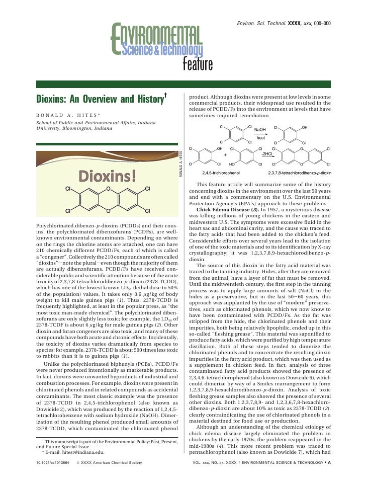 Environ. Sci. Technol. XXXX, xxx, 000–000     Dioxins: An Overview and History†                                           ...