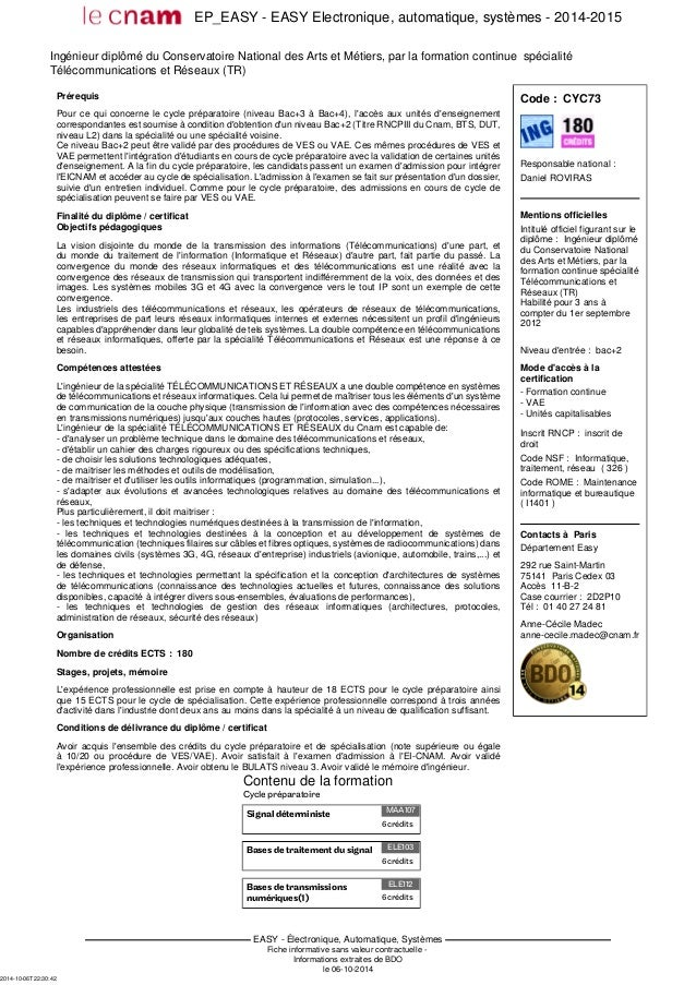 EP_EASY - EASY Electronique, automatique, systèmes - 2014-2015 EASY - Électronique, Automatique, Systèmes Fiche informativ...