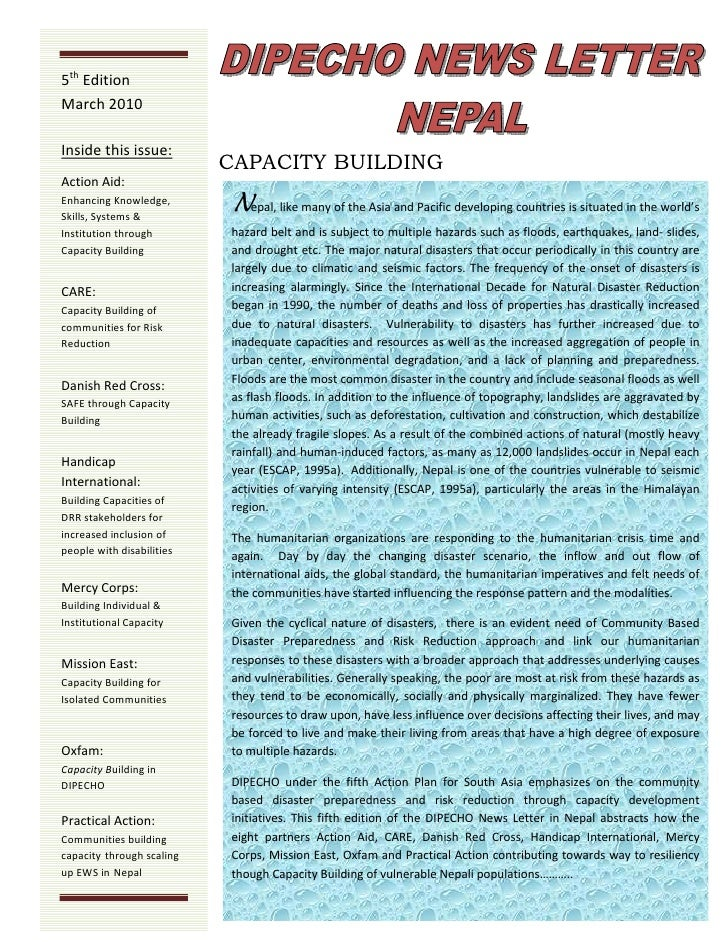 Dipecho5 news letter  5th edition- march10