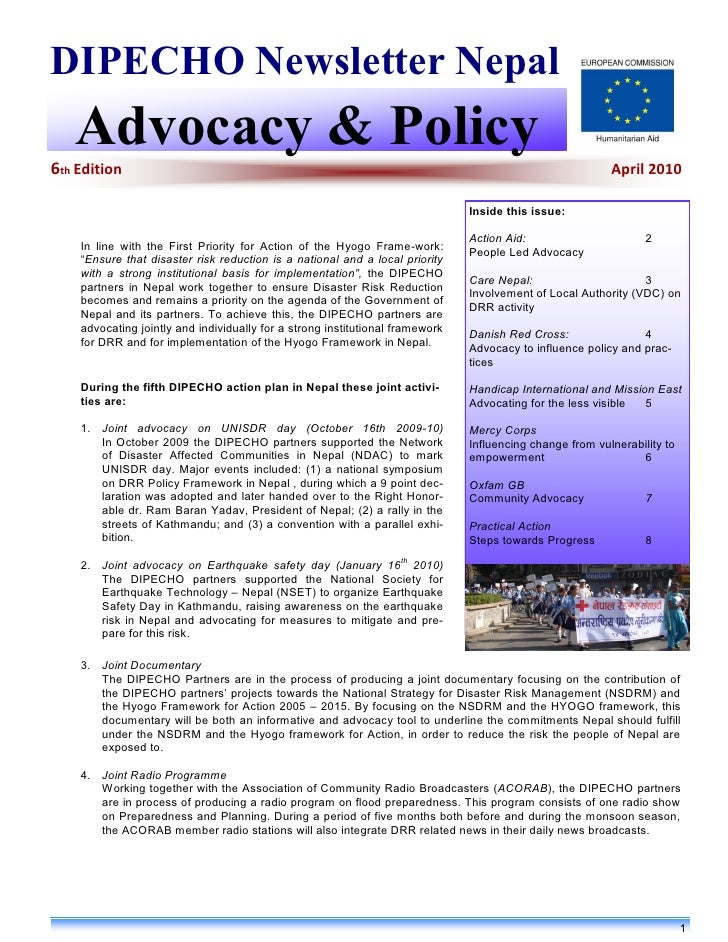 DIPECHO Newsletter Nepal    Advocacy & Policy 6th Edition                                                                 ...