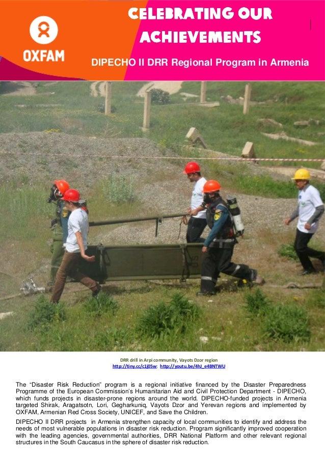 Celebrating Our Achievements; DIPECHO II DRR Regional Program In Armenia