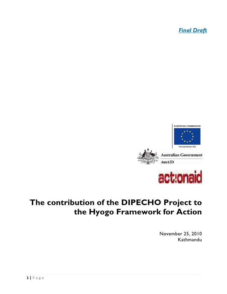 Final Draft    The contribution of the DIPECHO Project to               the Hyogo Framework for Action                    ...