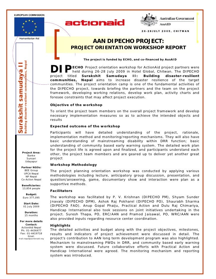 Dipecho v aan project orientation workshop summary report