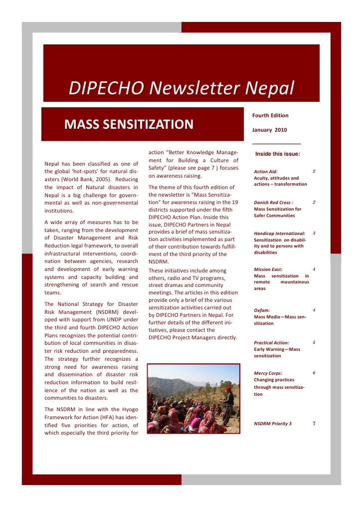DIPECHO Newsletter Nepal                                                                                    Fourth Edition...