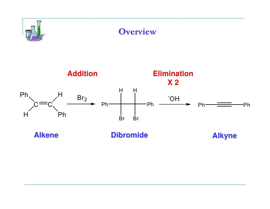 bromination of stilbene Trans-stilbene diphenylacetylene although the first step could be accomplished by using elemental bromine which is a red liquid that is highly corrosive and is a lachrymator, you are going to generate your bromine in situ (in the reaction mixture) using a solid reagent, pyridinium hydrobromide.