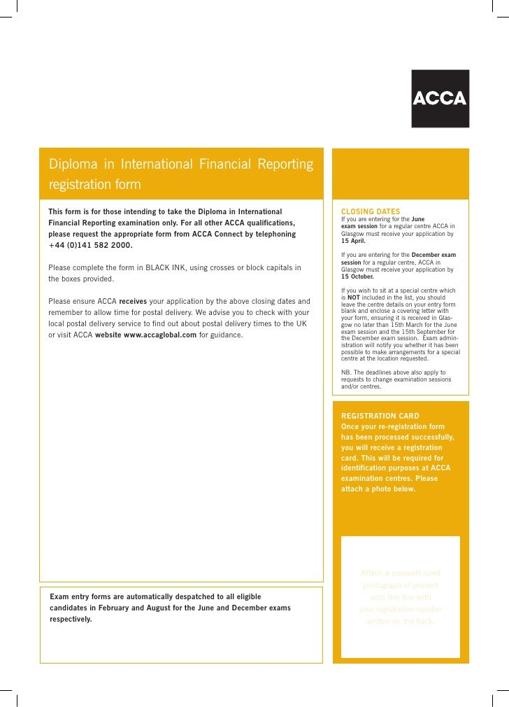 ACCA Dip in IFRS Registration Form