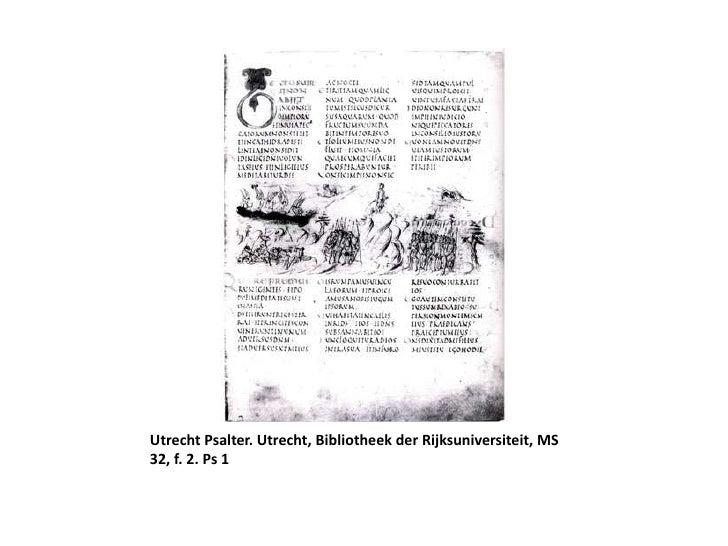 Utrecht Psalter. Utrecht, BibliotheekderRijksuniversiteit, MS 32, f. 2. Ps 1<br />