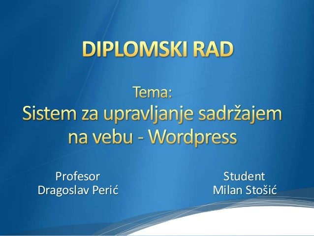 Student Milan Stošić Profesor Dragoslav Perić