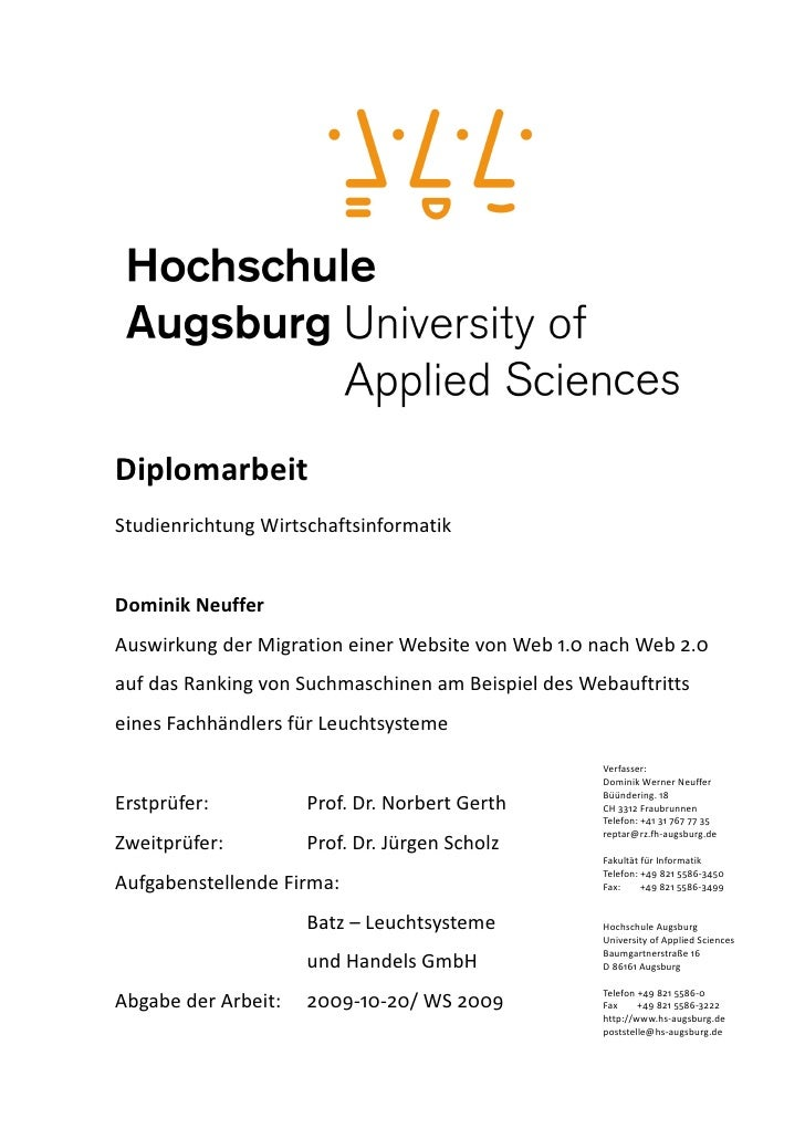 Diplomarbeit StudienrichtungWirtschaftsinformatik   DominikNeuffer AuswirkungderMigrationeinerWebsitevonWeb1.0na...