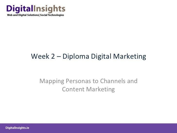 Week 2 – Diploma Digital Marketing  Mapping Personas to Channels and        Content Marketing