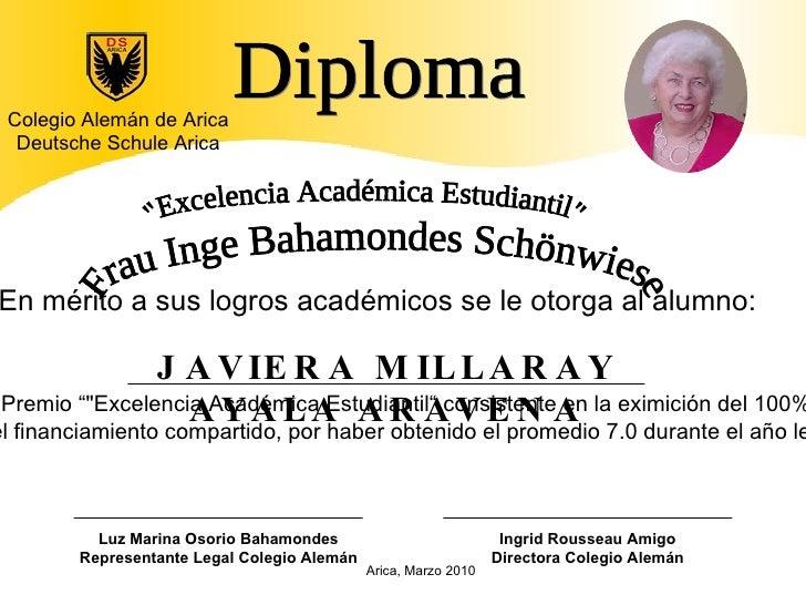 Diploma Luz Marina Osorio Bahamondes Representante Legal Colegio Alemán Colegio Alemán de Arica Deutsche Schule Arica JAVI...