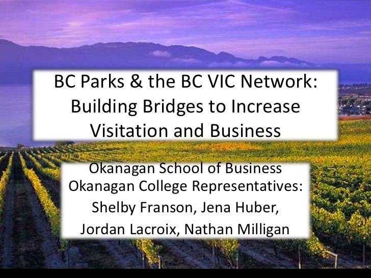 BC Parks & the BC VIC Network:  Building Bridges to Increase    Visitation and Business   Okanagan School of Business Okan...