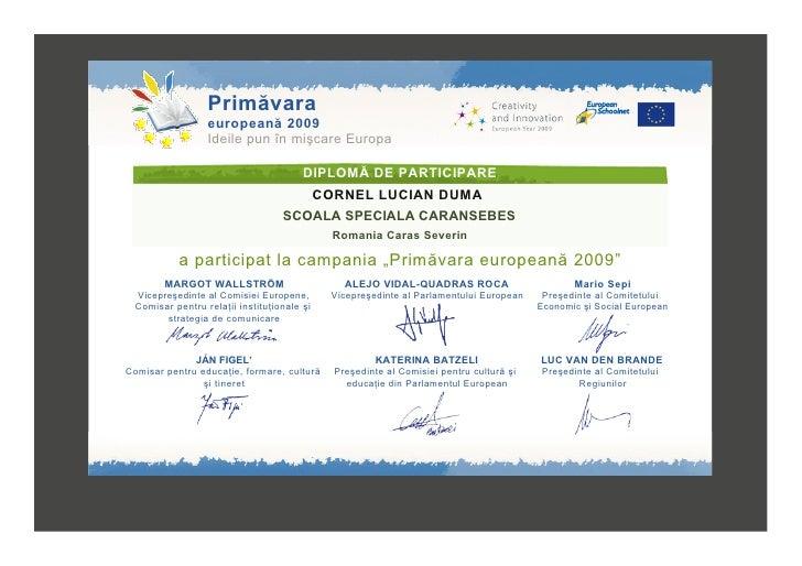 Diploma De Participare La Spring Day 2009 Duma Cornel Lucian