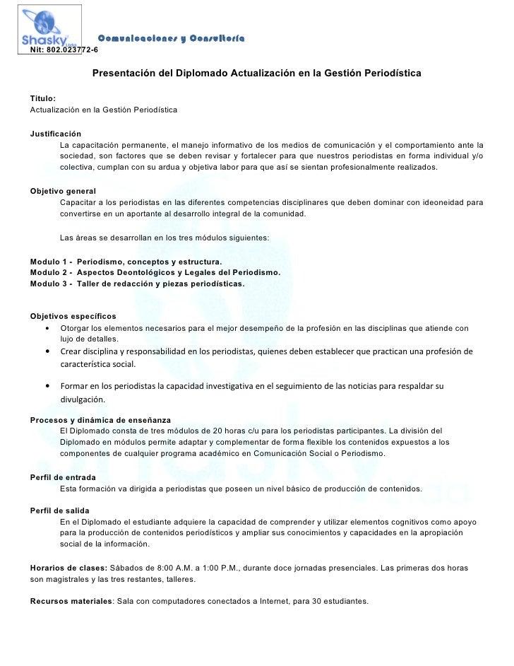 Diplomado actualización en la gestión periodística