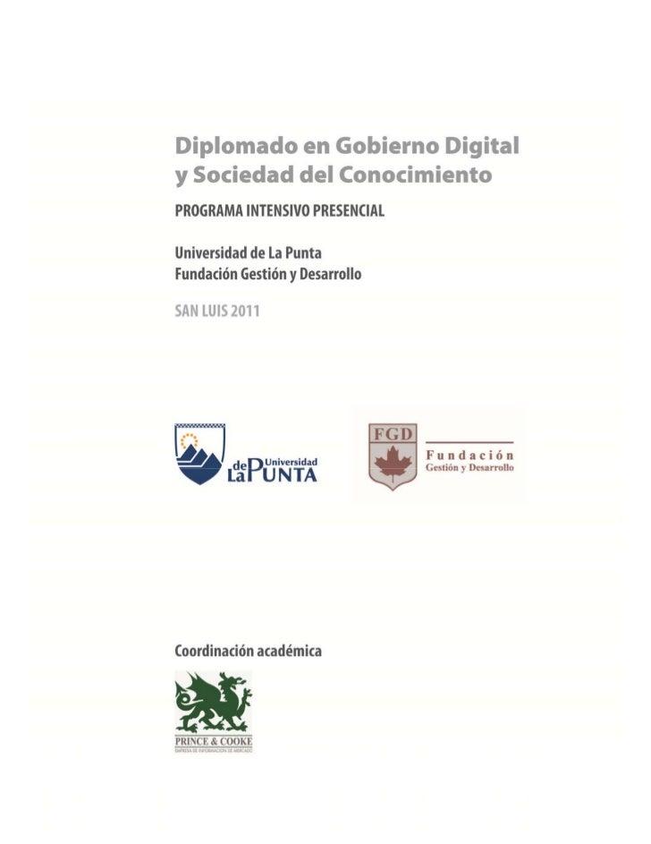 Diplomado en Goobierno Digital y Sociedad del Conocimiento - ULP, San Luis