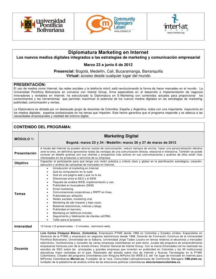 Diplomatura Marketing en Internet Los nuevos medios digitales integrados a las estrategias de marketing y comunicación emp...