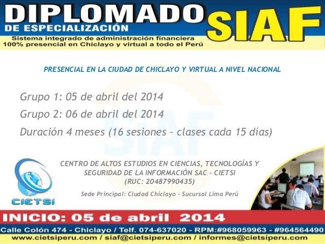 PRESENCIAL EN LA CIUDAD DE CHICLAYO Y VIRTUAL A NIVEL NACIONAL  Grupo 1: 05 de abril del 2014 Grupo 2: 06 de abril del 201...