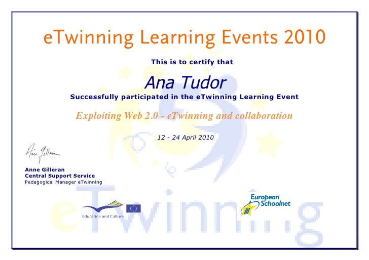 eTwinning Learning Events 2010                                     This is to certify that                                ...