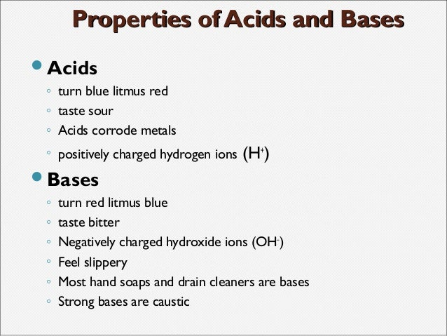 Describe Three Chemical Properties Of An Acid