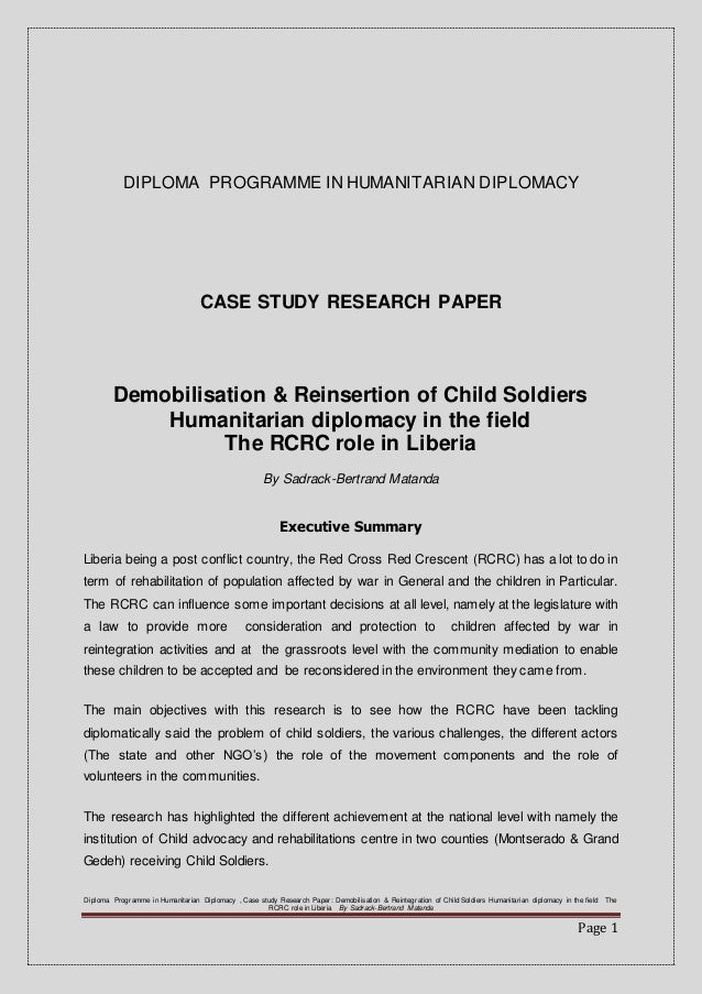 child soldiers research paper Below given is an impressive paper example, on the subject of child soldiers   the barbaric practice of child soldiers is still a prevalent reality in our world.