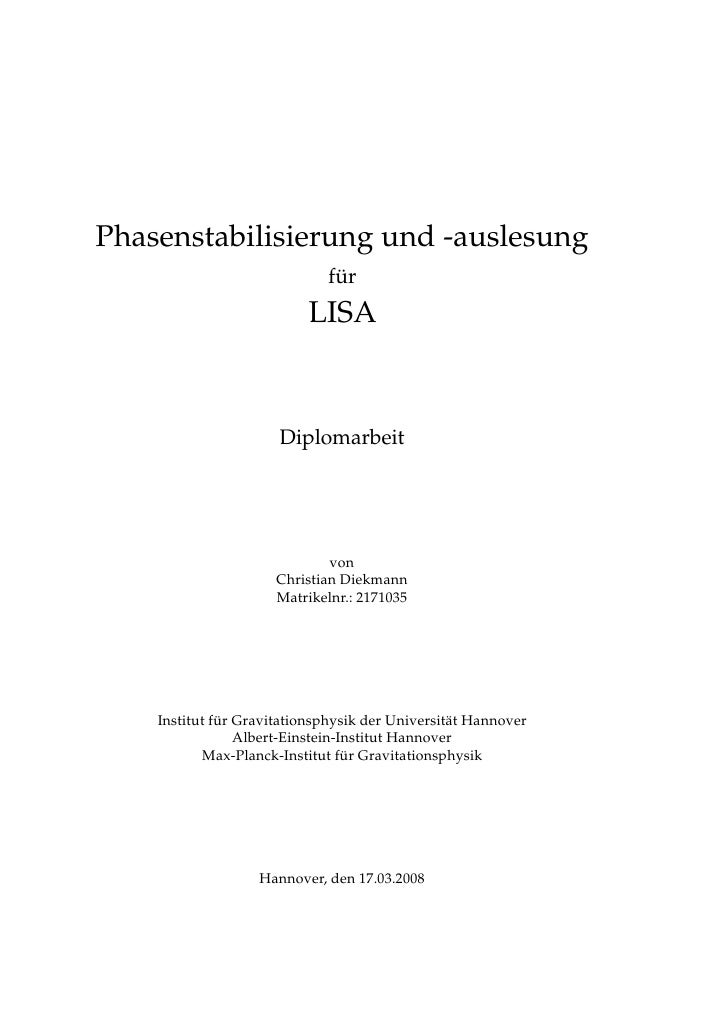 Phasenstabilisierung und -auslesung                              für                           LISA                       ...
