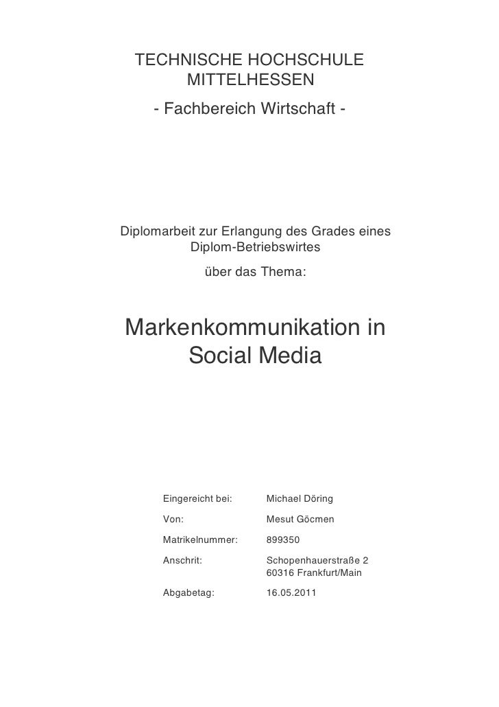Diplomarbeit . Markenkommunikation & Social Media