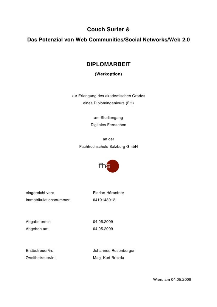 Couch Surfer &  Das Potenzial von Web Communities/Social Networks/Web 2.0 (Diplomarbeit - Werkoption)