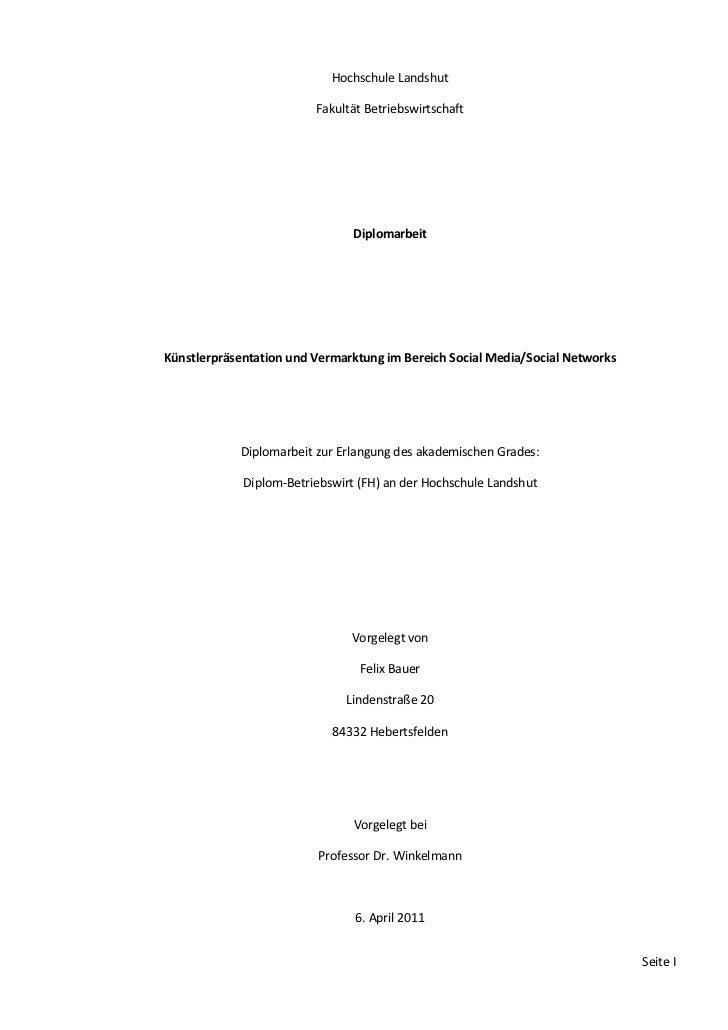 Hochschule Landshut                         Fakultät Betriebswirtschaft                                DiplomarbeitKünstle...