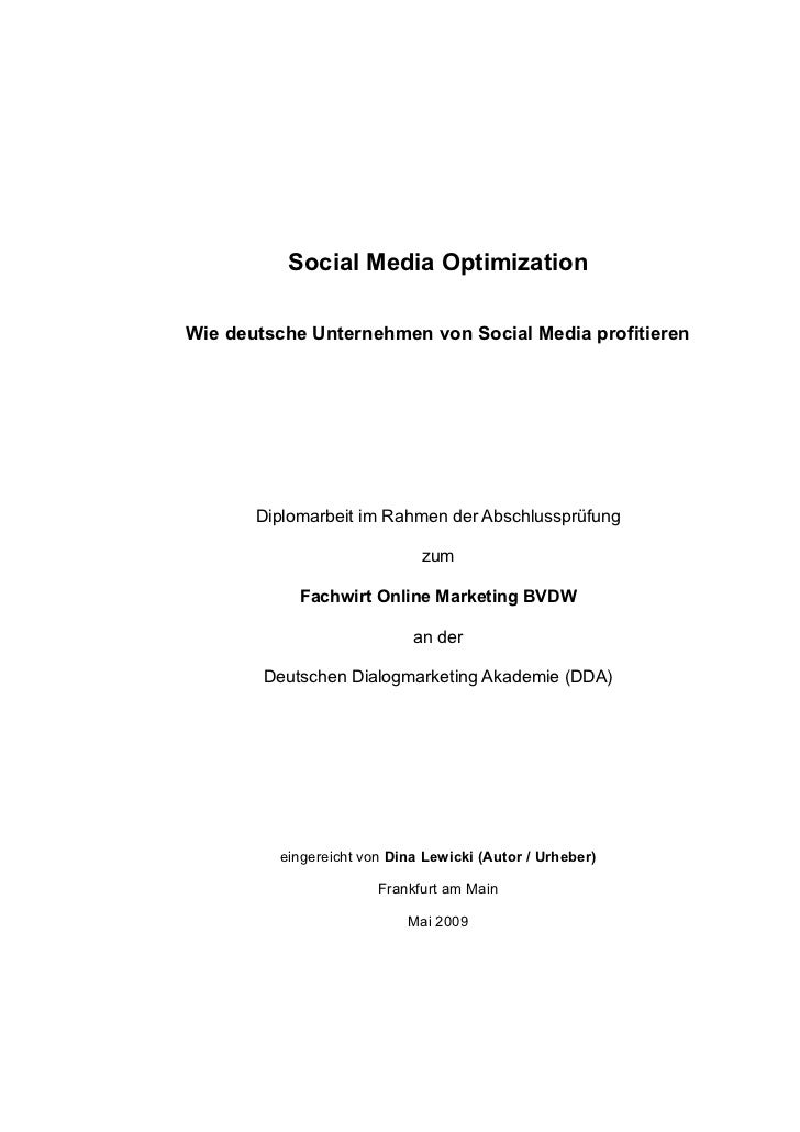 Social Media Optimization (Diplomarbeit)
