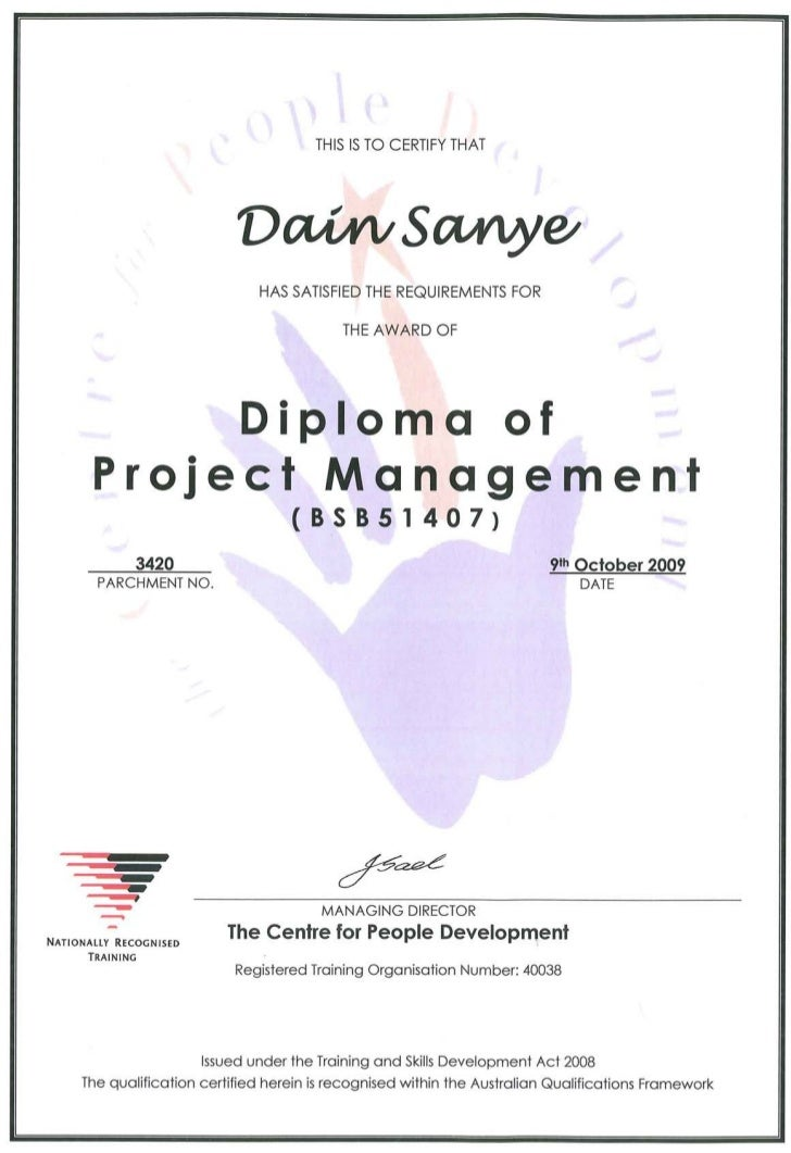 project management diploma There are a variety of project management diploma if you have already completed a short course or certificate in project management, it would make sense.