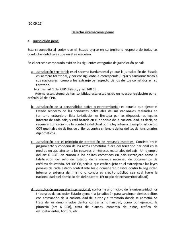 (10.09.12)                              Derecho internacional penala. Jurisdicción penalEsta circunscrita al poder que el ...